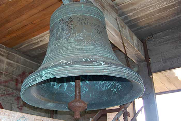 The bell that hangs in Seney Hall clock tower