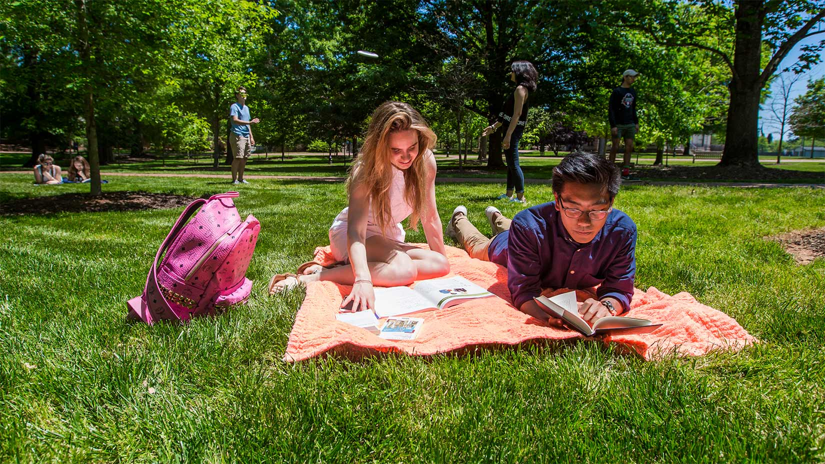 Students study on the Oxford quad.