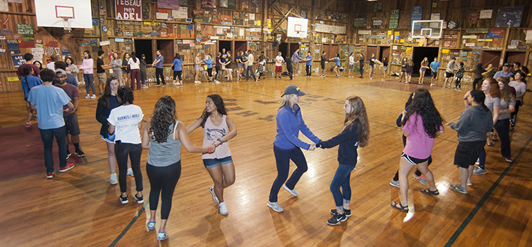Students find a partner to join them for the barn dance festivities.