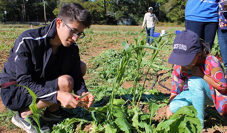 Touring Oxford's organic farm is one of the highlights of Family Weekend.