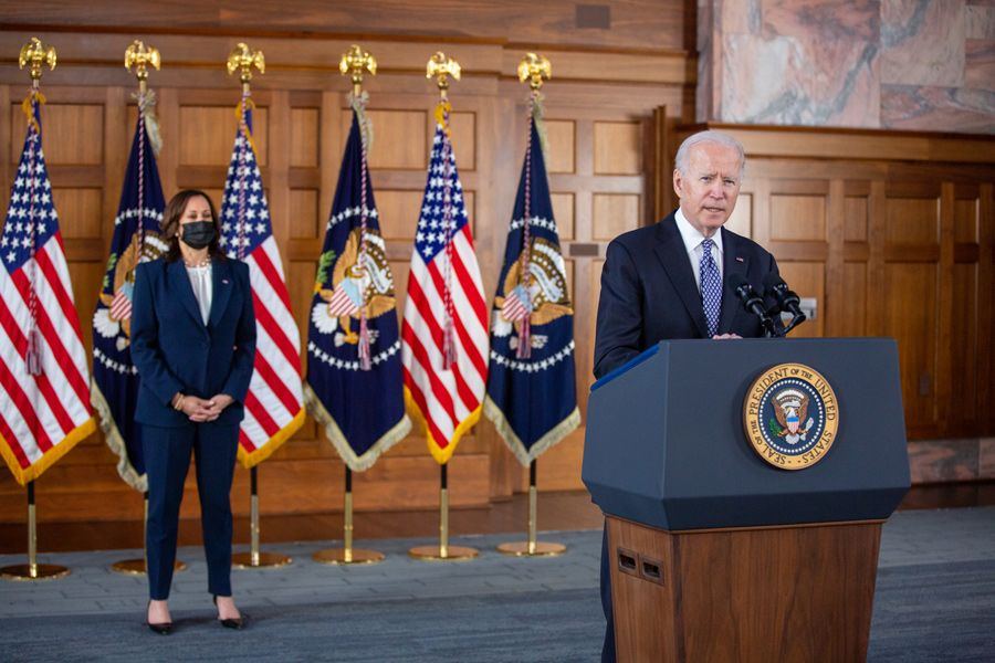 U.S. President Joe Biden and Vice President Kamala Harris in Emory's Convocation Hall