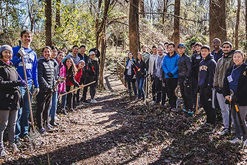 Volunteers did trail maintenance for Newton Trails.